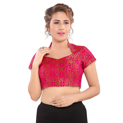 Tomato Pink Brocade Short Sleeves Vamas Readymade Blouse