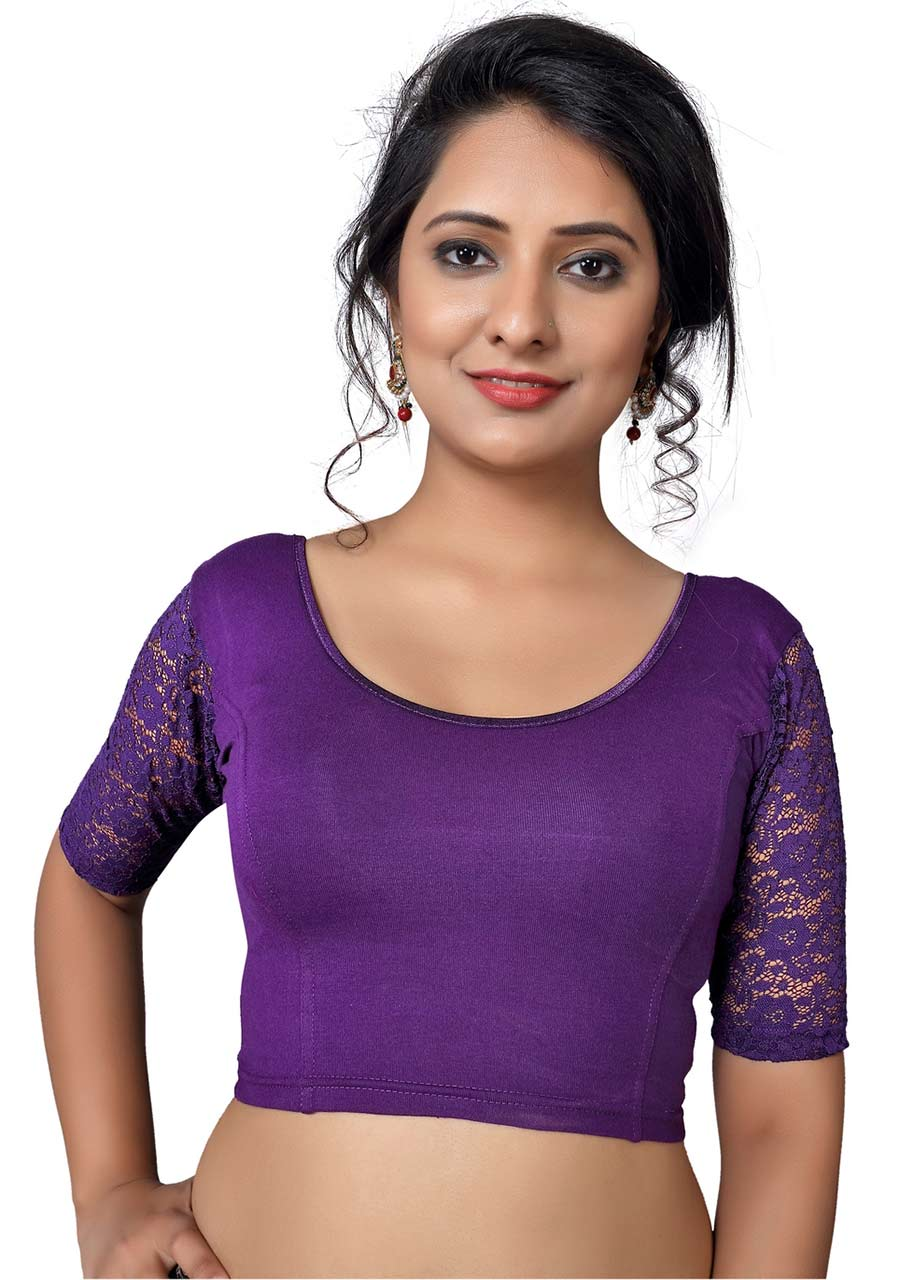 Vamas brinjal Cotton Lycra Strechable Round Neck Blouse