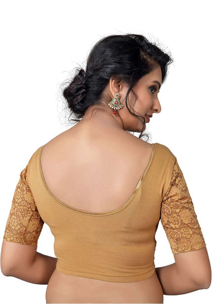 Vamas dark-gold Cotton Lycra Strechable Round Neck Blouse