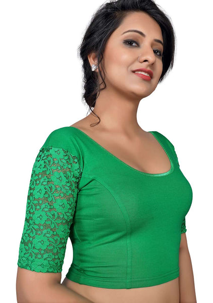 Vamas green Cotton Lycra Strechable Round Neck Blouse