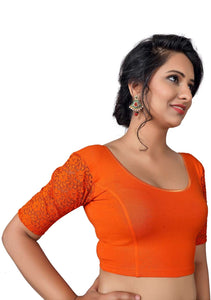 Vamas orange Cotton Lycra Strechable Round Neck Blouse