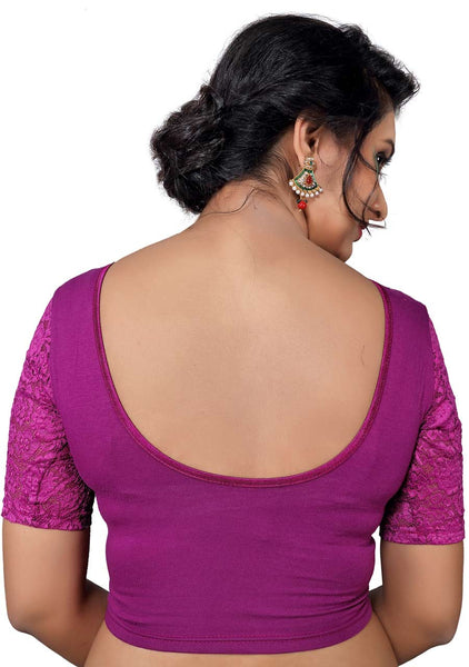 Vamas purple Cotton Lycra Strechable Round Neck Blouse
