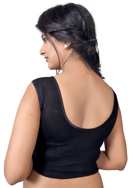 Vamas black Cotton Lycra Strechable Round Neck Blouse