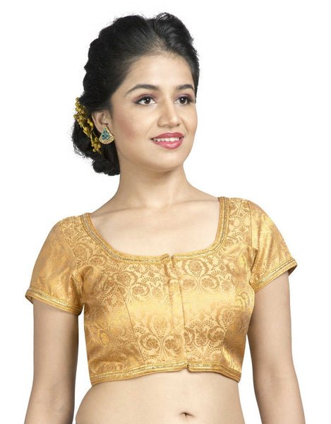 Vamas Gold Short Sleeve self Design Front Open Ready Made Blouse