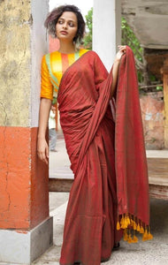 Maroon and Yellow Mul Mul Cotton Saree