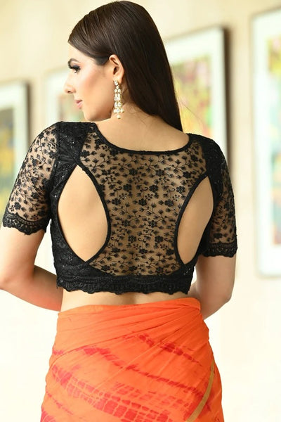 Black Net Half Sleeve Blouse
