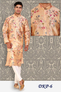 Peach with Multi-color Designed Dupion Silk Mens Kurta and Pajama Set