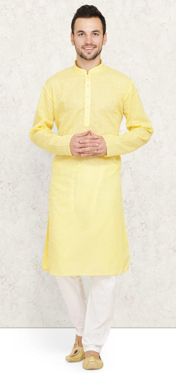 Yellow Cotton Chikankari Mens Kurta Pyjama Set