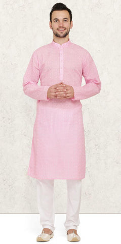 Pink Cotton Chikankari Mens Kurta Pyjama Set