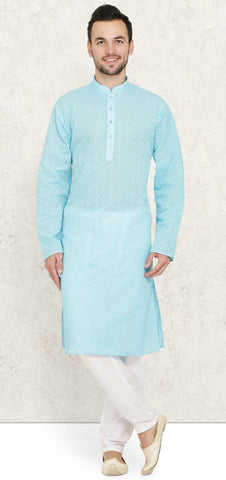 Sky Blue Cotton Chikankari Mens Kurta Pyjama Set