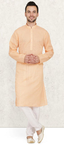 Peach Cotton Chikankari Mens Kurta Pyjama Set