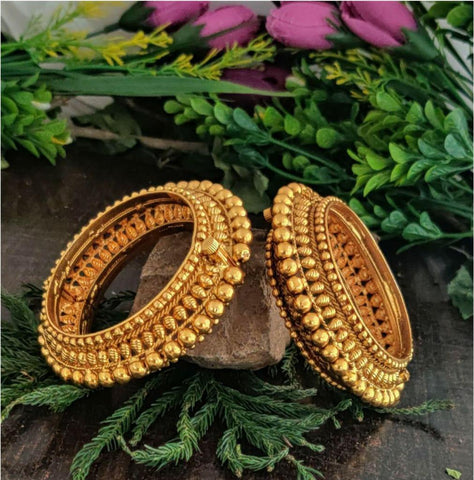 Beautiful Gold Plated Designer Broad Bangles