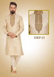 Beige Colored Designer Dupion Silk Kurta Pajama Set