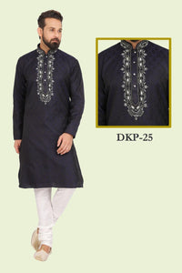 Black Colored Designed Dupion Silk Mens Kurta and Pajama Set