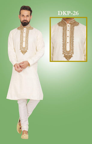 White Colored Designer Dupion Silk Kurta Pajama Set