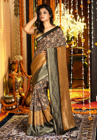 BLACK AND MUSTARD DOLA SILK SAREE
