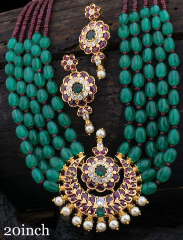Emerald Colored Multi Layered Beads Necklace with Matching Earrings