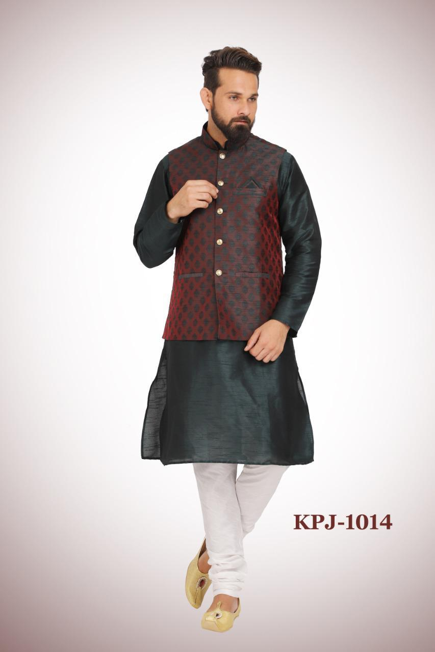 Black Kurta Pajama Set with Wine Colored Nehru Jacket