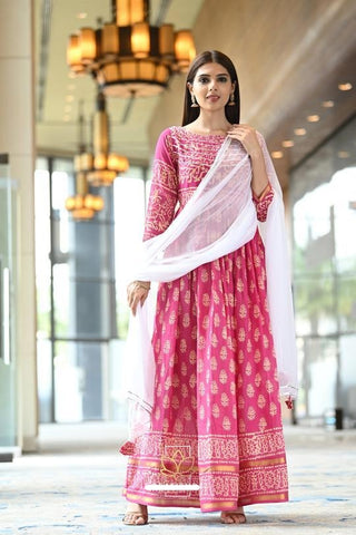 Pink Shade Cotton Zari Handblock Print Dress With Dupatta