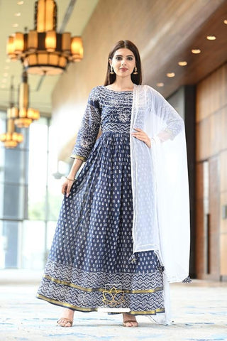 Blue Cotton Zari Print Dress with White Dupatta