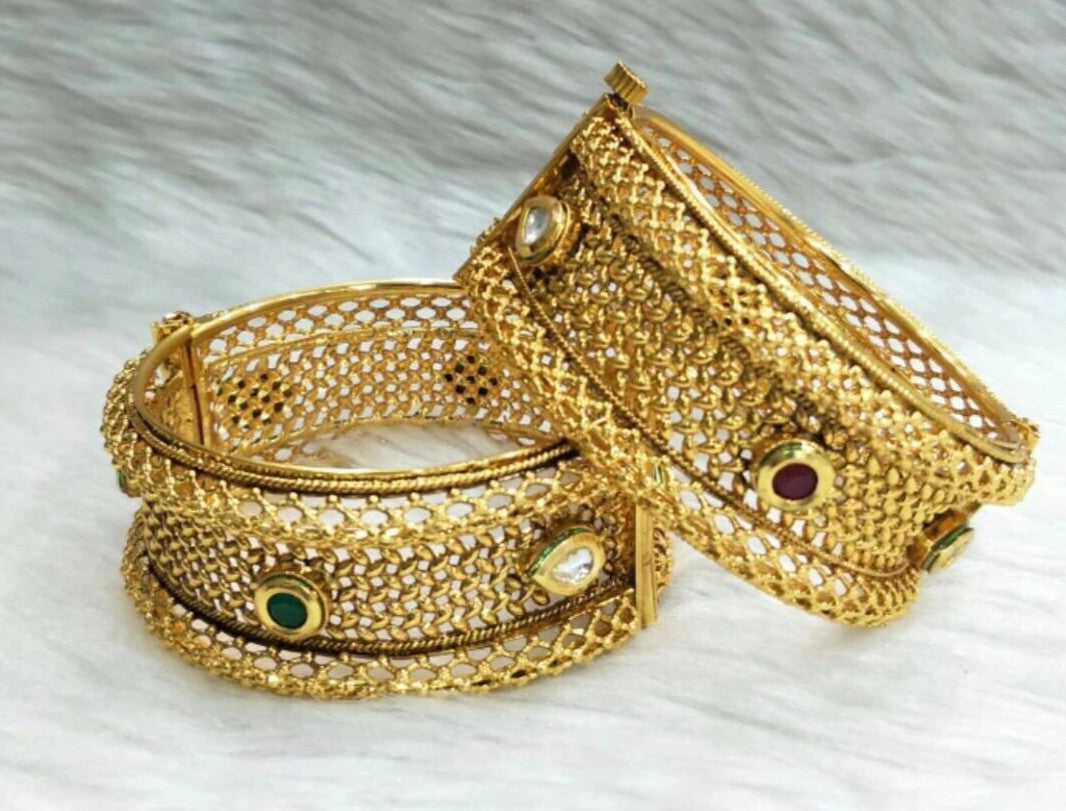 Pair Of Gold Plated Kada Bangles with Multicolor Kundan Stone