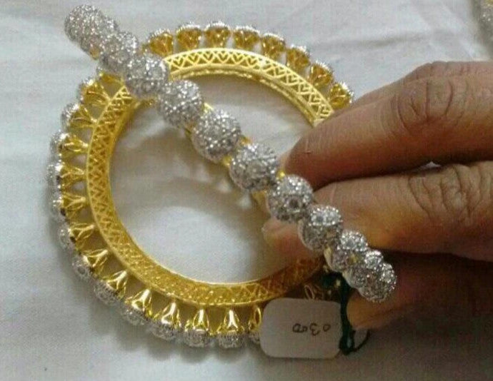 Pair Of Royal Marwari Kada with the Heavy Stone Work