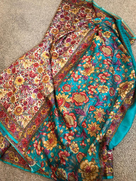 Super Soft Pure Silk Printed Floral Saree in Turquoise