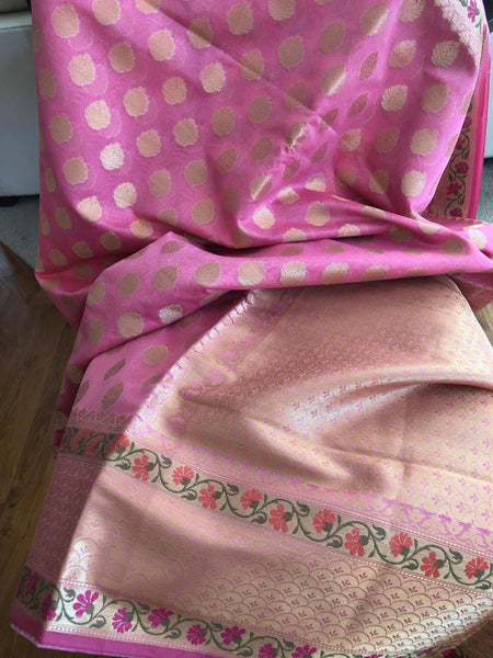 Classy and Elegant Baby Pink Handloom Silk Saree with Golden Butta's