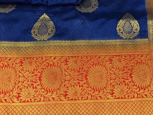 Deep Blue Handloom Silk Cotton Banarasi Saree With Beautiful Heavy Aachal