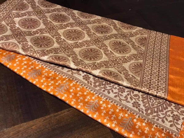 Pure Handloom Rust Orange Silk Saree with Beautiful Designs on Border