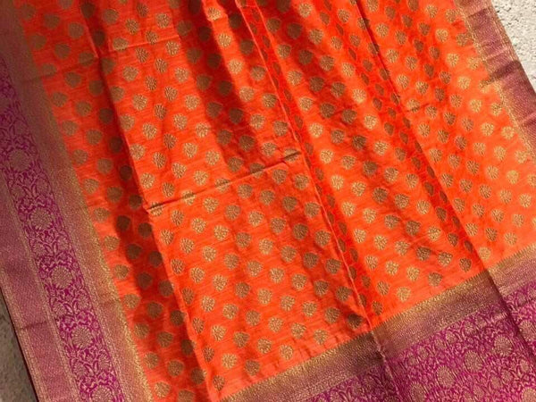 Handloom Orange Silk Saree with Royal Pink Touch