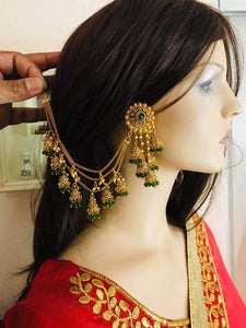 Gold Plated Ethnic Hanging Jhumki Earring in green Color Small Jhumki