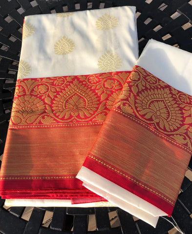 Traditional Red and White Bengali Style Kanchi Silk Saree