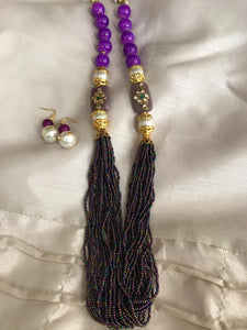 Pearl and Beads Jewel Set In Purple Color