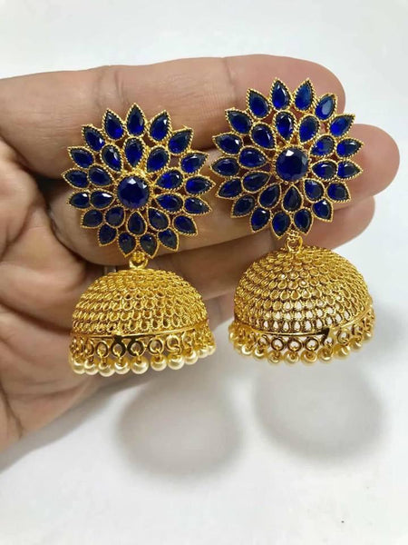 Royal Blue Colored Stone Studded Jhumka Earrings