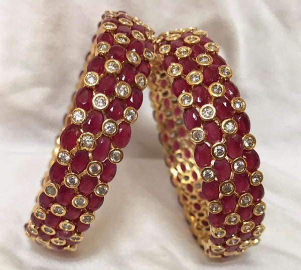 Bangles Designed in Red Emerald with Stone