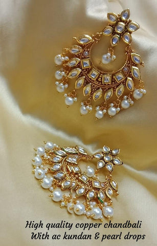 Gold Plated Kundan Chandbali Jhumka Earrings