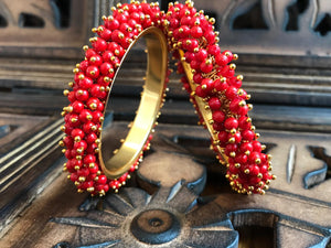 Gold Plated Red Color Beads Studded Bangle
