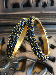 Gold Plated Blue and Golden Color Beads Studded Bangle