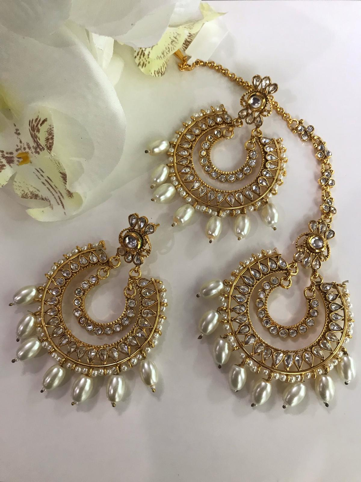 Exclusive Maang Tikka Designed In Stones And Pearls With Matching Earrings