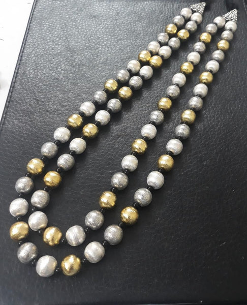 Multi-Layered Oxidised Beads Necklace In Dual Tone