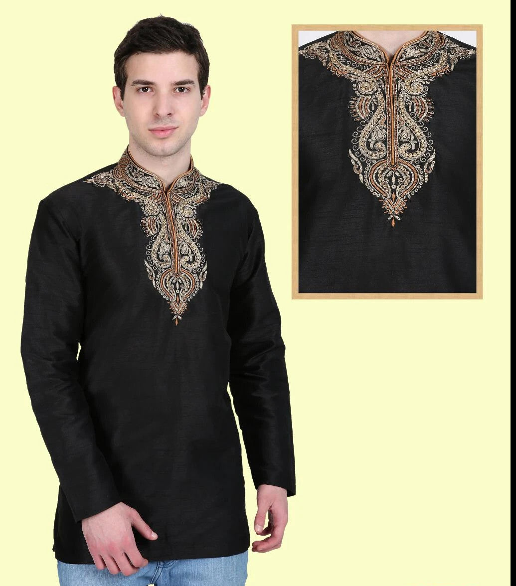 Black Colored Embroidered Dupion Silk Mens Short Kurta