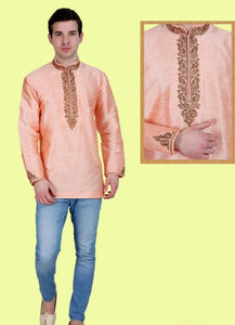 Peach Colored Embroidered Dupion Silk Mens Short Kurta