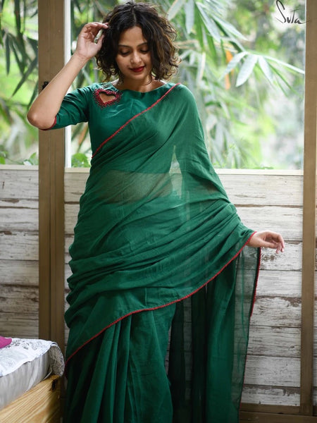 Emerald and Ruby Color Saree