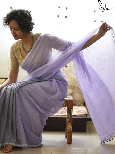 Lavender Cotton Saree
