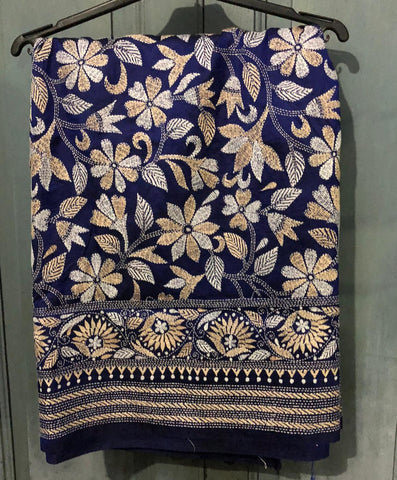 Pure Kantha Stitched Saree In Royal Blue with Beige and White Embroidery