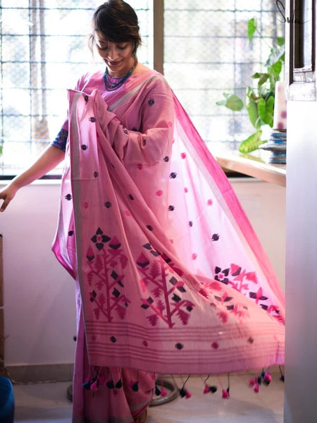 Pink and Floral Cotton Saree