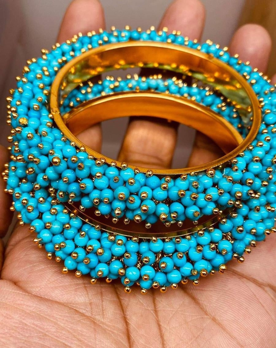 Beautiful Golden and Sky Blue Beads Bangles