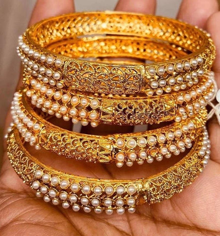 Beautiful Detailed Work Gold Plated Bangles