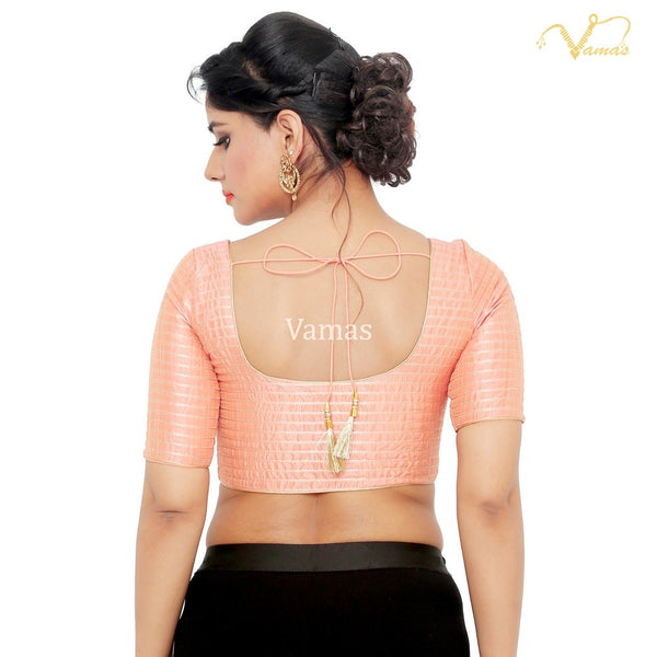 Pastel Peach Vamas Stripes Front Open Ready Made Blouse